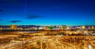 Skyline view at sunset of the famous Las Vegas Strip located in world class hotels and casinos, NV. Las Vegas, Nevada - May 28, 2018 : Skyline view at sunset of stock photos