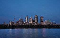 Skyline View of Sydney at dawn seen from the botan Stock Image