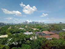 The  skyline views of urban city beside the global city. stock photo