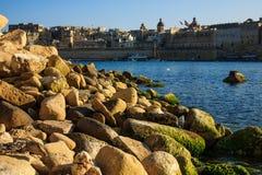 Skyline of Vittoriosa from Kalkara, Malta Royalty Free Stock Photography