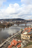 Skyline of Vltava river Stock Images
