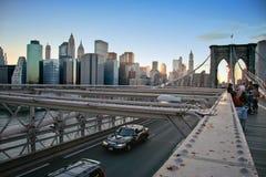 Skyline von der Brooklyn-Brücke Lizenzfreies Stockfoto