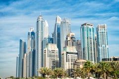 Skyline von Dubai, Vereinigte Arabische Emirate im Stadtzentrum gelegen Stockfoto