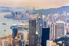 Skyline von Hong Kong gesehen von Victoria Peak Stockbild