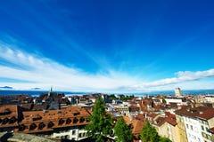 Skyline von Lausanne Stockfotos
