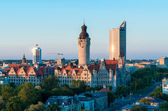 Skyline von Leipzig Stockfotografie