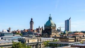 Skyline von Leipzig Stockfotos