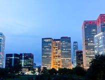 Skyline von Peking CBD, Nachtansicht lizenzfreies stockfoto