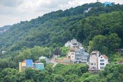 Skyline von Pittsburgh, Pennsylvania vom Berg Washington Stockbild