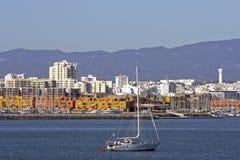 Skyline von Portimao in Portugal Stockfotografie