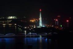Skyline von Pyongyang nachts Lizenzfreies Stockbild