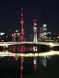 Skyline von Shanghai sahen vom Suzhou in Puxi an Lizenzfreies Stockfoto