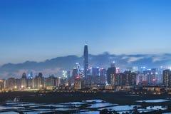 Skyline von Shenzhen-Stadt, China lizenzfreies stockfoto