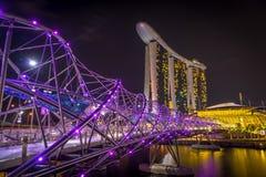 Skyline von Singapur nachts lizenzfreie stockbilder
