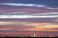 Skyline von Springfield bei Sonnenuntergang Stockbild