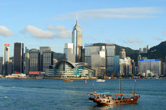 The skyline of the Wan Chai area of the Hong Kong Island Royalty Free Stock Photos