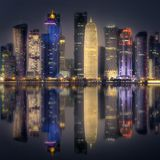 The skyline of West Bay and Doha Center, Qatar Stock Photos