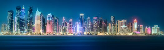 The skyline of West Bay and Doha City, Qatar. The skyline of West Bay and Doha City Center at night, Qatar royalty free stock photography