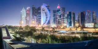 The skyline of West Bay and Doha City, Qatar. The skyline of West Bay and Doha City Center at night, Qatar. Clipping path of sky. Clipping path of sky stock images