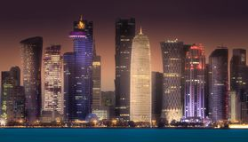 The skyline of West Bay and Doha City, Qatar. The skyline of West Bay and Doha City Center at night, Qatar. Clipping path of sky royalty free stock photos