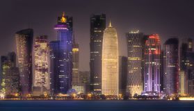 The skyline of West Bay and Doha City Center, Qatar Royalty Free Stock Photography
