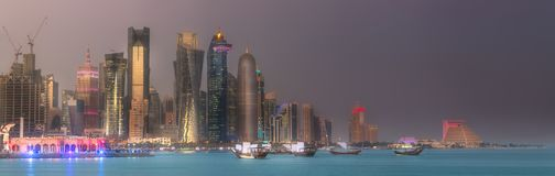 The skyline of West Bay and Doha City Center, Qatar. The skyline of West Bay and Doha City Center at night, Qatar Royalty Free Stock Photos