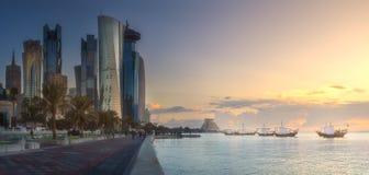Skyline of West Bay and Doha City Center, Qatar. The skyline of West Bay and Doha City Center during sunset, Qatar Stock Images