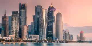 The skyline of West Bay and Doha City Center. During sunrise, Qatar royalty free stock photography
