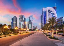 Skyline of West Bay and Doha City Center during sunrise, Qatar Royalty Free Stock Image