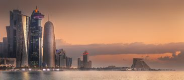 The skyline of West Bay and Doha City, Qatar royalty free stock image