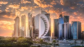 Skyline of West Bay and Doha City Center, Qatar. The skyline of West Bay and Doha City Center during sunset, Qatar Stock Images