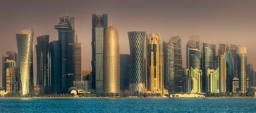 The skyline of West Bay and Doha City, Qatar royalty free stock images