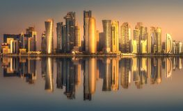 The skyline of West Bay and Doha downtown, Qatar. The skyline of West Bay and Doha City Center during sunret, Qatar Royalty Free Stock Photo