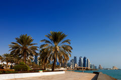 The skyline of West Bay Doha, Qatar Stock Photo