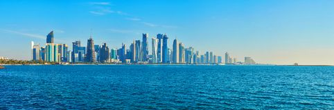 The symbol of Doha, Qatar. The skyline of West Bay with numerous modern fast growing skyscrapers of Al Dafna, Doha, Qatar stock images