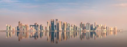 Skyline of West Bay and stony bank Doha, Qatar. The skyline of West Bay and stony bank view from Museum of islamic art during sunset Doha, Qatar stock photography