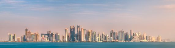 Skyline of West Bay and stony bank Doha, Qatar Stock Photo