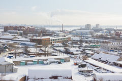 Skyline of winter snow industrial city in Russia Royalty Free Stock Photos