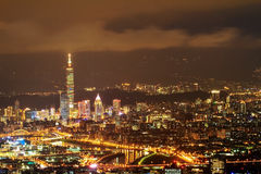 Skyline of Xinyi District in downtown Taipei, Taiwan Royalty Free Stock Image