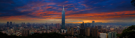 Skyline of Xinyi District in Taipei Stock Photo