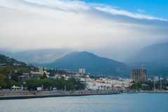 Skyline of the Yalta city before autumnal storm Stock Images