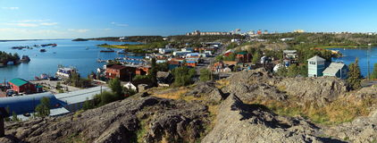 Skyline of Yellowknife from Bush Pilots Monument, Northwest Territories, Canada. The Bush Pilots Monument was erected atop a rock outcropping of the Canadian Royalty Free Stock Image