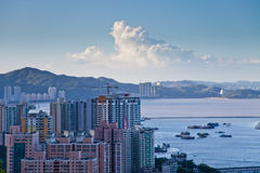Skyline of Zhuhai, China. View of Zuhai from Wanzai port Royalty Free Stock Photos