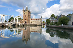 Skyline of Zierikzee with ancient city gate Royalty Free Stock Photos