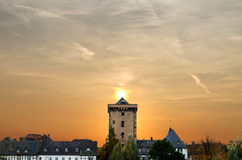 Skyline of Zons on the Rhine Stock Image