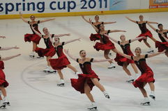Skyliners Team ice skating Spring Cup 2011. Skyliners synchronized ice skating , USA team at Spring Cup 2001 - Italy Stock Photo
