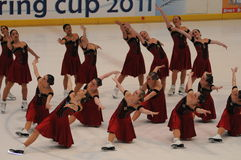 Skyliners Team ice skating Spring Cup 2011. Skyliners synchronized ice skating , USA team at Spring Cup 2001 - Italy Stock Photos
