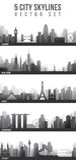 Skylines da cidade ajustadas Fotos de Stock