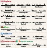 Skylines da cidade do vetor de países das ilhas britânicas ilustração stock