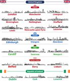 Skylines das cidades de países das ilhas britânicas: Reino Unido Inglaterra, Gales, Escócia, Irlanda do Norte e República da Irla ilustração do vetor